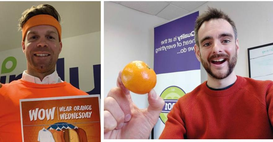 Photo's showing individuals and businesses wearing orange
