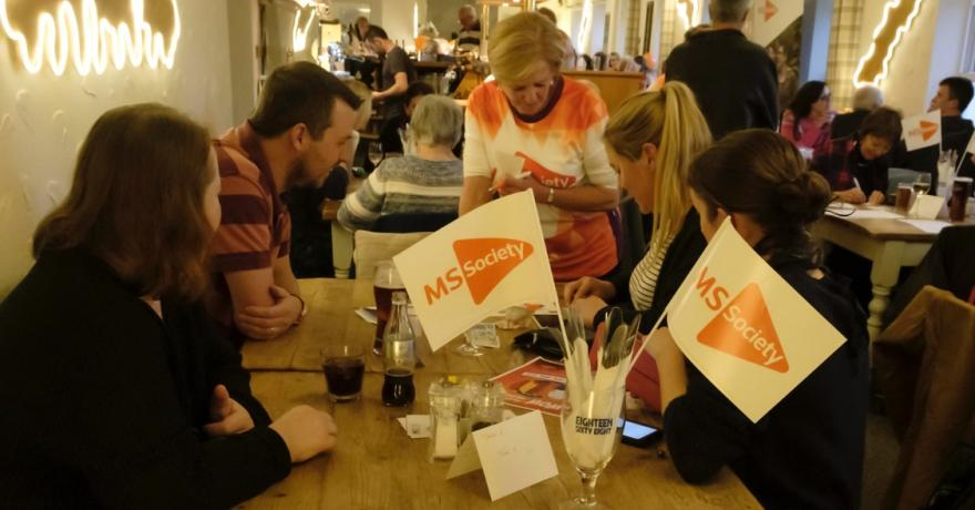 Sorting out the raffle tickets at the pub quiz